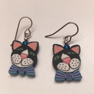 Jewelry - Femo clay cat earrings!